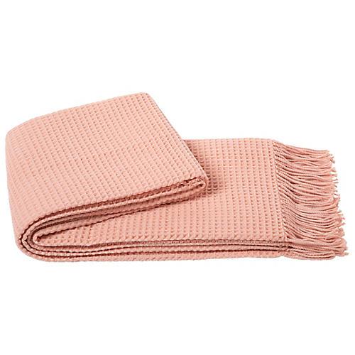 Waffle Weave Throw, Pink Blush