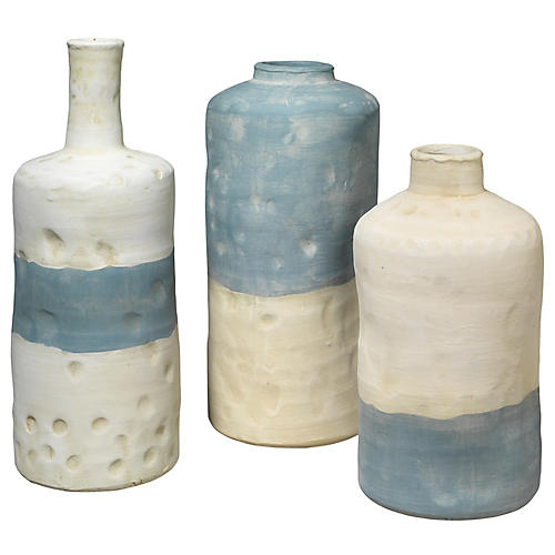 Asst. of 3 Sedona Vases, Blue/White