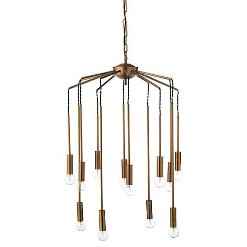 Cascade 12-Light Chandelier, Antiqued Brass