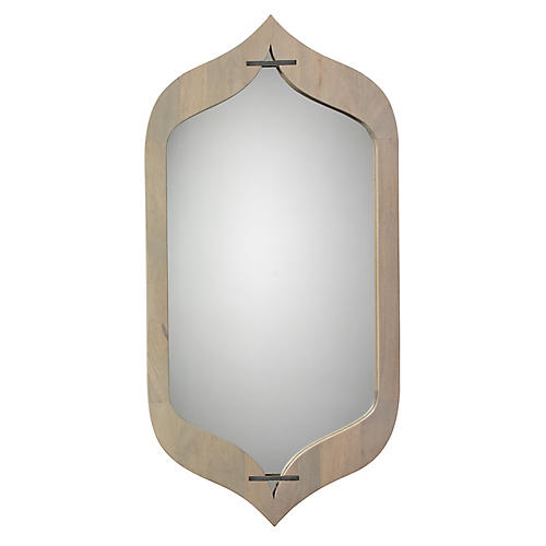 Jasmine Wall Mirror, Graywash/Silver