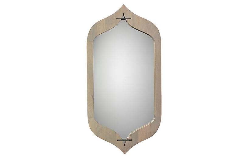 Jasmine Wall Mirror, Graywash/Silver