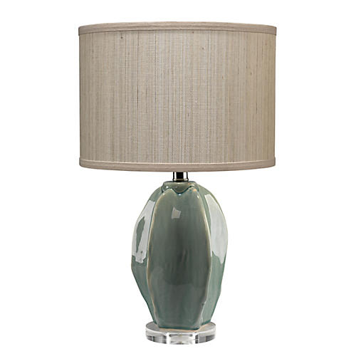Hermosa Table Lamp, Teal Crackle