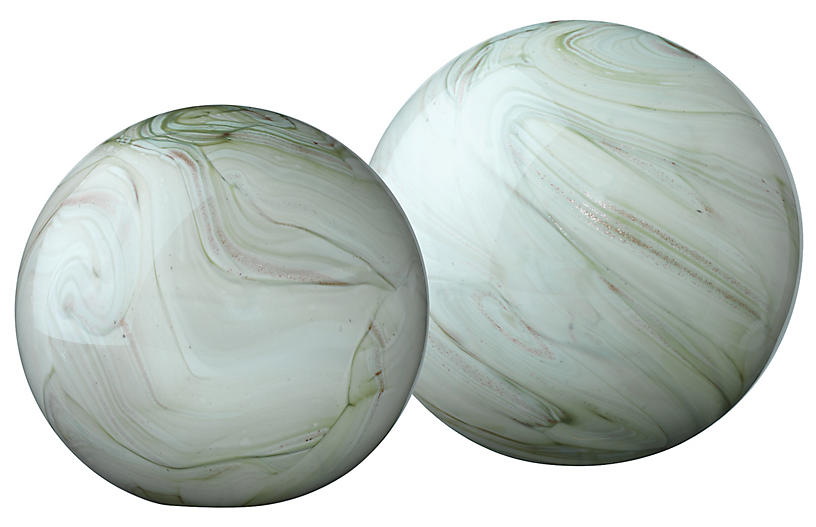 S/2 Cosmos Glass Orbs, Sage Green