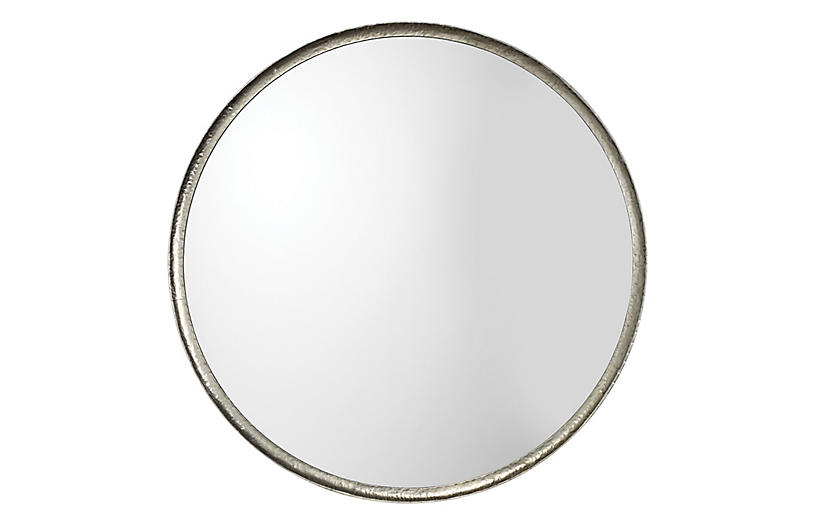 Refined Round Wall Mirror, Silver Leaf