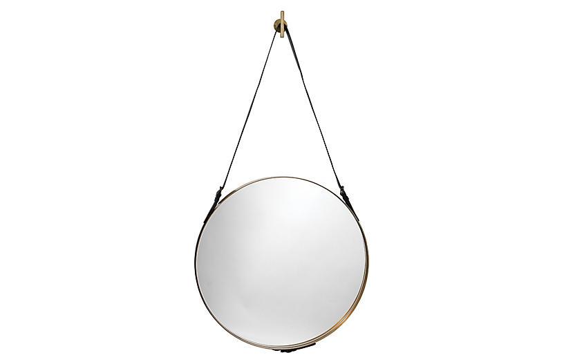 Strap Wall Mirror, Antiqued Brass/Black