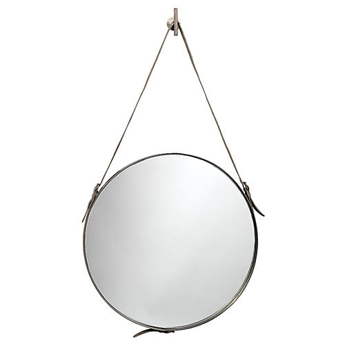 Round Large Wall Mirror, Gray Hide