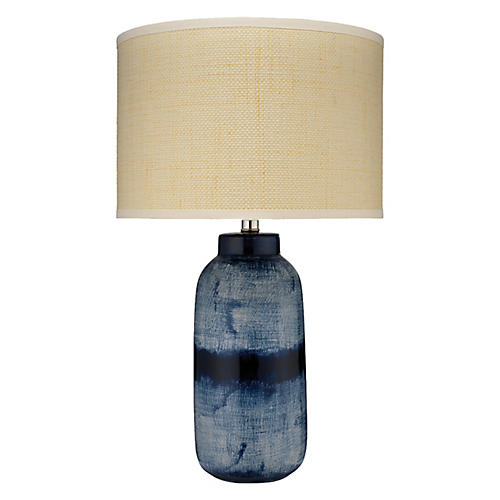 Batik Large Table Lamp, Indigo