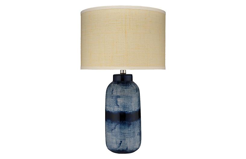 Batik Large Table Lamp, Indigo