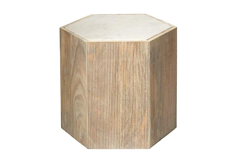 Argan Hexagon Side Table, Natural