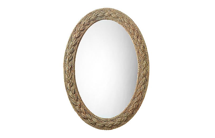 Nixi Oval Wall Mirror, Natural Seagrass