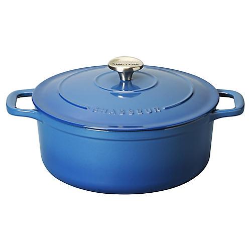 6-Qt Chasseur Round Cast Iron Crockpot, Blue