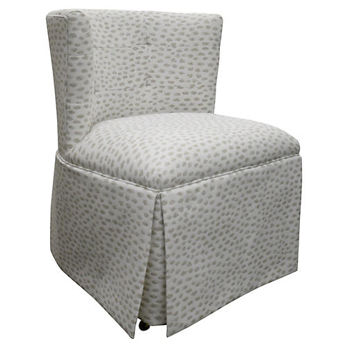 Chit Chat Accent Chair, White/Beige Spots