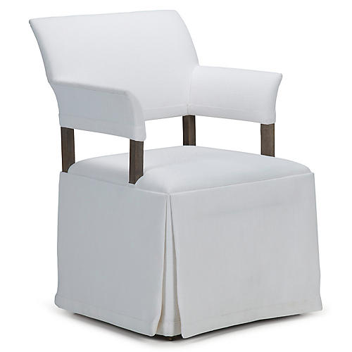 Jamie Mae High-Back Armchair, White