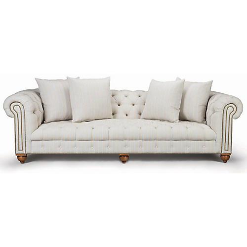 Sherwood Sofa, Natural Linen Ticking