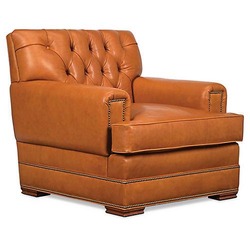 Errol Club Chair, Nutmeg Leather