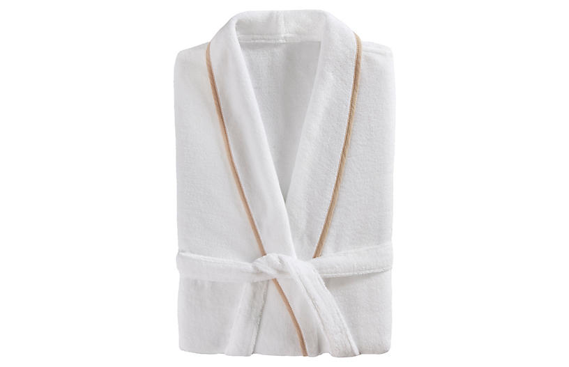 Turkish Plush Bathrobe, White/Linen