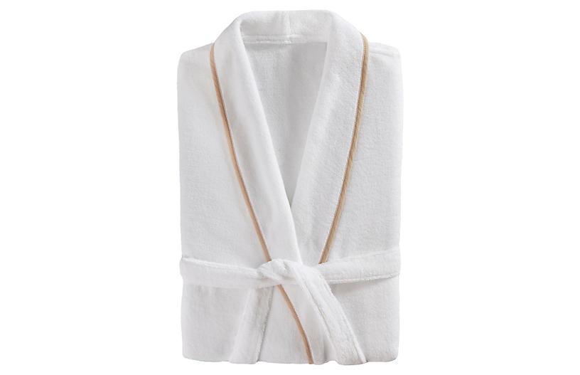 Turkish Plush Bathrobe, White/Linen