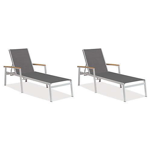 Gray Travira Chaises w/Teak, Pair