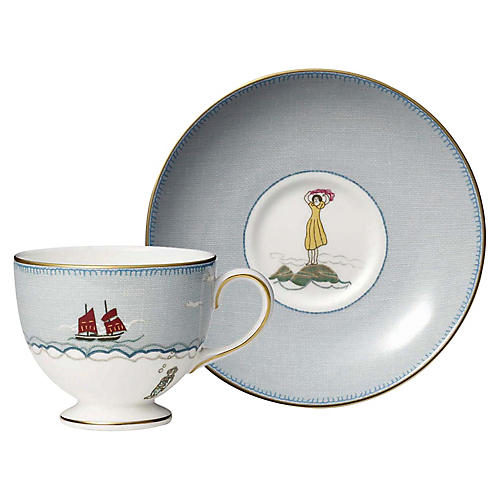 Sailor's Farewell Teacup & Saucer Set, Blue/Multi