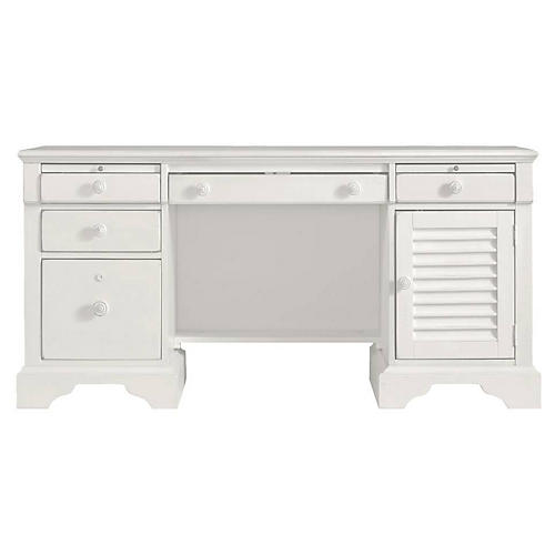 Computer File Desk, Saltbox White