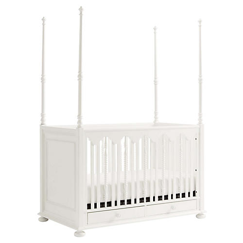 Smiling Hill Four Poster Crib, Chalk