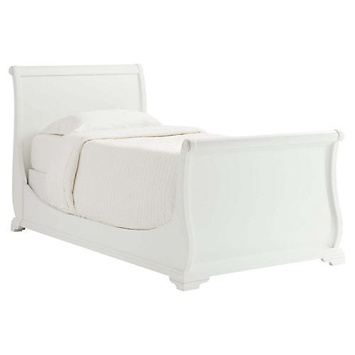 Teaberry Lane Kids' Sleigh Bed, Stardust White
