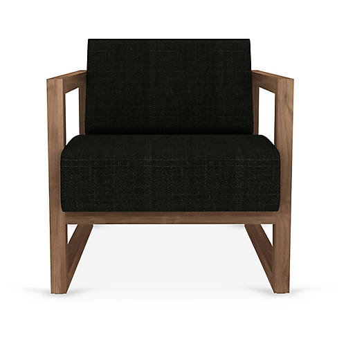 Square Root Accent Chair, Coffee Linen