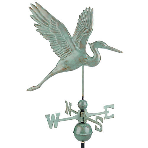 "36"" Graceful Heron Weather Vane, Blue-Verde Copper"