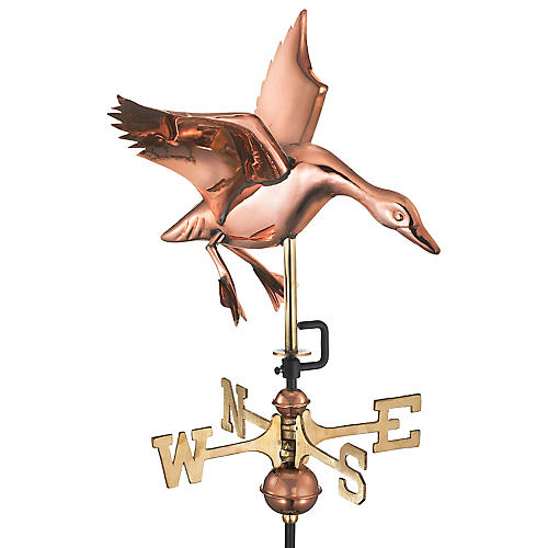 "25"" Landing Duck Cottage Weather Vane, Copper"