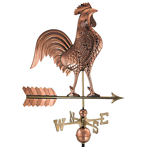"46"" Rooster Weather Vane, Copper"