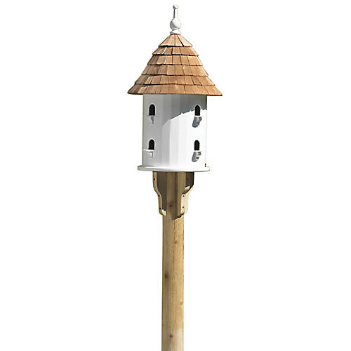 "28"" Watch Hill Bird House, White/Natural"