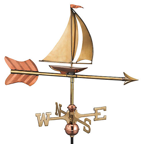 "28"" Sailboat Cottage Weather Vane, Copper"