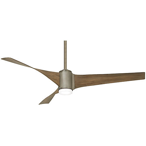 Triple LED Ceiling Fan, Brushed Steel