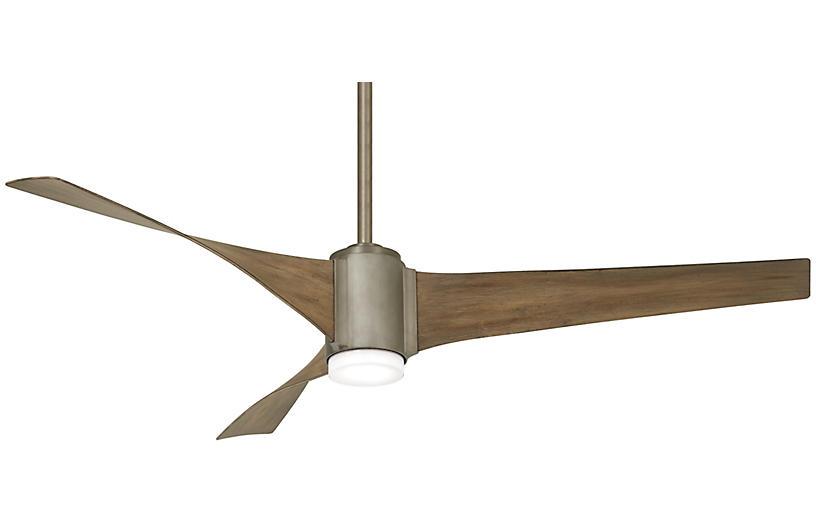 Triple LED Ceiling Fan, Brushed Steel