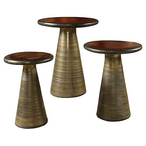 Asst. of 3 Segment Side Tables, Antiqued Red