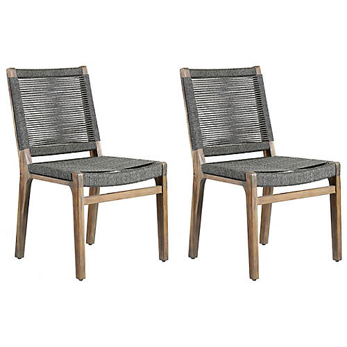 S/2 Oceans Outdoor Side Chairs, Gray
