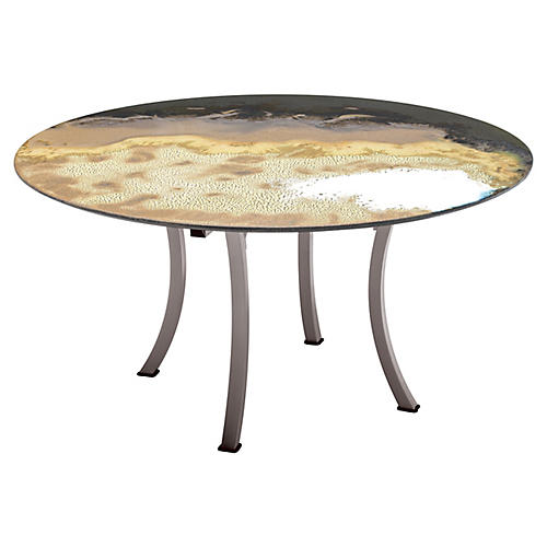 Etna Round Dining Table, Beige Volcanic Rock