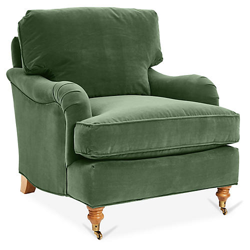Brooke Club Chair, Emerald Velvet