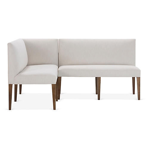 Reeves Left-Facing Banquette, Ivory Crypton