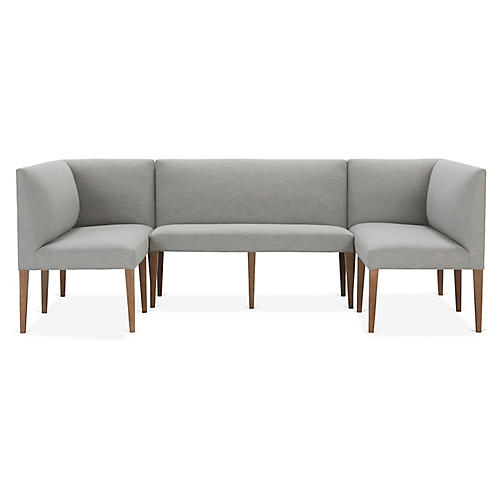 Reeves 3-Pc Banquette, Mist Crypton