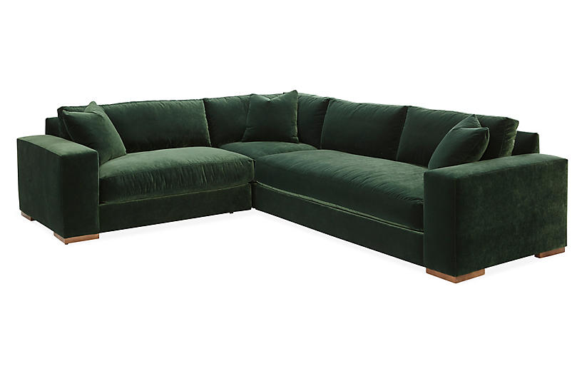 Mandel Left-Facing Sectional, Forest Green Velvet