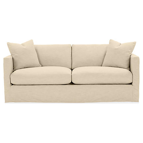 Shaw Slipcover Sofa, Bisque Crypton