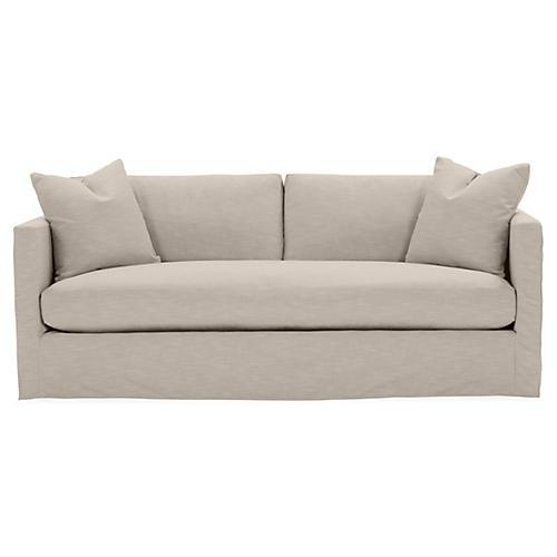 Shaw Bench-Seat Slipcover Sofa, Greige Crypton