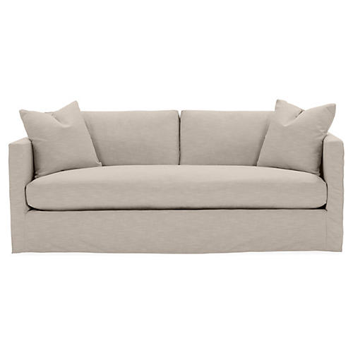 Shaw Bench-Seat Slipcover Sofa, Greige Crypton