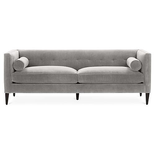 Georgina Tufted Sofa, Gray Crypton
