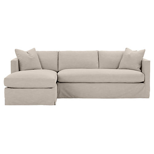 Shaw Left Bench-Seat Sectional, Greige Crypton