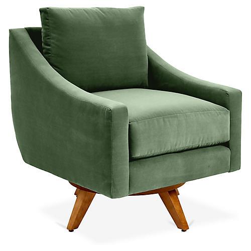 Nash Swivel Chair, Emerald Velvet
