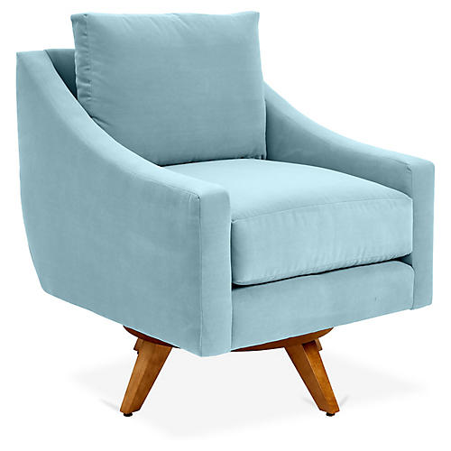 Nash Swivel Glider Chair, Light Blue Crypton