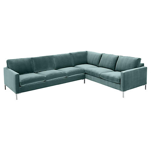 Amia Right-Facing Sectional, Sage Crypton