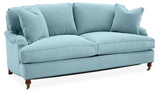 This light blue Brooke Sofa (Light Blue Crypton) is a casual two cushion option for a cottage style beachy space! Come check out 15 Grace and Frankie Beach House Decorating Ideas!